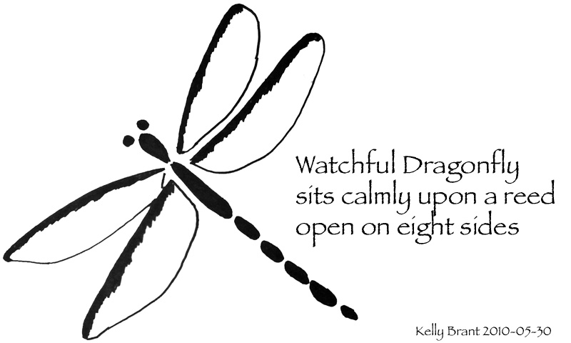 haiku: watchful dragonfly, sits calmly upon a reed, open on eight sides
